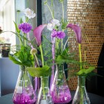 And flowers in erlenmeyer flasks were at every table.