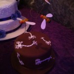 The groom's cake was decorated with neurons and incredibly life-like edible fruit flies.